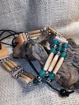Choker, (Kropfband) mit Drachen-Achat-Perlen (CH30)