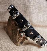 LEDER Armband, Formteile, schwarz, Zierapplikation, Totenöpfe, (Tot4)