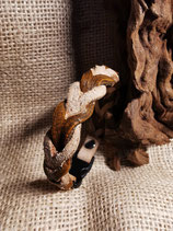 Flechtarmband, Lederarmband, Rindleder, zweifarbig, braun/natur