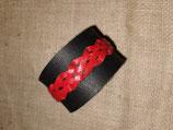 Schwarzes Lederarmband mit roter Flechtung (RLA24)