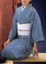 KI-1015    単衣着物 (流し花・ブルー)