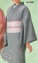 KI-1026    単衣着物 (小花・ブルーグレー)