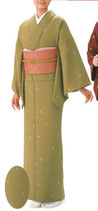 KI-1022    単衣着物 (花の丸・カラシ)
