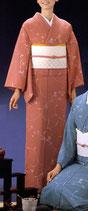 KI-1014    単衣着物 (流し花・ピンク)