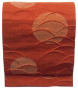 OB-127    紋織名古屋帯 (月芝・赤)