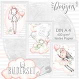 Kinderzimmer & Babyzimmer Bilder Set süße Babytiere Bild Kinderbild Kinder Poster