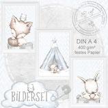 Kinder Baby Zimmer Bild er Tiere Fuchs Poster Tierbild Bilder Set DIN A4