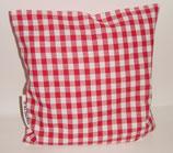 """Hochwertiges Baumwollkissen 30x30 cm gefüllt mit frischen Zirbenspänen im Innenvlieskissen """" Landhaus Karo rot-weiß"""""""