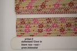 Stoffen band bloem roze/rood-groen blokmotief 12mm