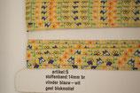 Stoffen band vlinder blauw/wit-geel blokmotief 14mm