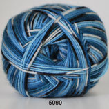 Aloe sockwool col.5090 blauw mix