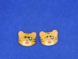 Knopen poes geel (2 stuks)