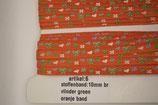Stoffen band vlinder groen-oranje band 10mm