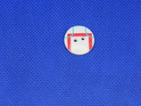 Knoop wit met rood en blauw streep 18mm