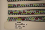 Stoffen band auto's groen/rood-groen band 9mm
