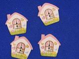 Knopen huis roze ( 13 stuks)