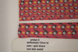 Stoffen band poes/gele bloem-roze blokmotief 12mm