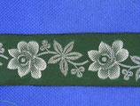 Stoffenband bloem 33mm groen-zilver