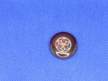 Knoop donker paars met gouden hart 22mm