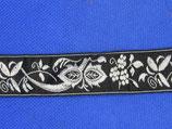 Stoffen band fantasie zwart-zilver 24mm