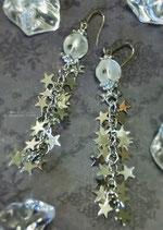 願いを叶える~星のキラキラフリンジとフロスト水晶のロングピアス