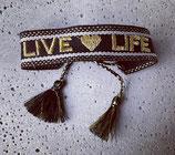 Webarmband Schwarz/Live-Life