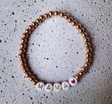 Edelstahl Kugelarmband Rosé + Buchstaben Gold