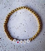 Edelstahl Kugelarmband Gold + Buchstaben Gold