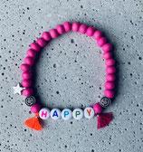 Perlenarmband Pink-Smileys