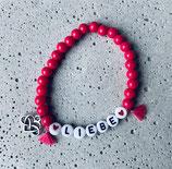 Perlenarmband Raspberry-Pink-Rote-Herzen