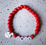 Perlenarmband Rot-Silber