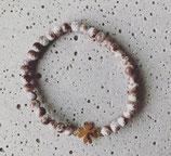 Perlenarmband Taupe-Weiß meliert/Rosé Kleeblatt