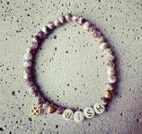 Perlenarmband Taupe-Weiß meliert-Rosé