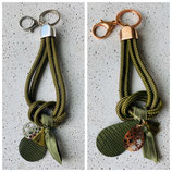 Schlüsselanhänger Segeltau Oliv Rosé/Silber