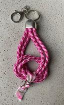 Schlüsselanhänger Segeltau Rosa Ribbon mit 1 Buchstaben