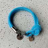 Armband Jandia Samt Stahlblau-Silber