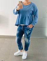 Sweater mit Schößchen Blau