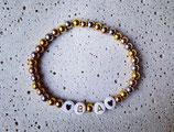 Edelstahl Kugelarmband Tricolor (Silber/Rosé/Gold) + Buchstaben Gold