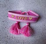 Webarmband Rosa/Love