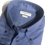 Blaues Sporthemd in Baumwoll-Flanell mit Button-Down-Kragen