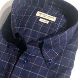 Dunkelblaues Sporthemd in Baumwoll-Flanell mit Button-Down-Kragen