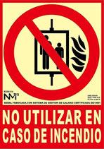 Placa señalización No Usar el ascensor en caso de incendio