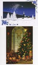 クリスマスカード2×2枚セット  クリスマスの夜&ブルースノウ 日本語