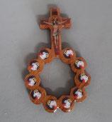 フランス ルルド クロス一連ロザリオリング 木製 大 1909-36