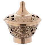 香炉 エンボス装飾が施された古いアンティークゴールドメッキ真鍮製の香炉 BI000076