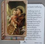 イタリア プラ箔押しカード GENOA聖書型 11 パドヴァの聖アントニオ 8.5×5.5センチ 裏面英語祈り