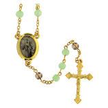 ファティマ23 パドヴァの聖アントニオのロザリオ Devotional rosaries Saint Anthony Padua rosary, light green glass beads 6 mm - Faith Collection 23/47