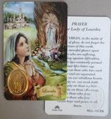 イタリア プラ箔押しカード RCC 115 ルルド  8.3×5.5センチ 裏面英語祈り