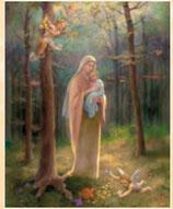 イタリア FB ご絵 20×25センチ紙 8.10-226 MADONNA DEL BOSCO 森の聖母子