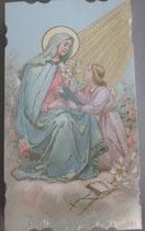 イタリア ご絵 Eucaristina 聖母と子供 025 10.7×6センチ 飾り縁箔押し 紙裏白